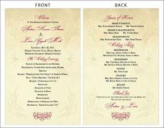 Harvest scroll accordion fold wedding program – download & print.