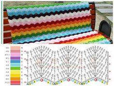 Uma manta linda com o ponto ripple ( chevron ). Crochet Ripple Afghan, Baby Blanket Crochet, Chevron Afghan, Chevron Crochet, Crochet Baby, Crochet Stitches Patterns, Stitch Patterns, Stitch Crochet, Baby Sweater Knitting Pattern
