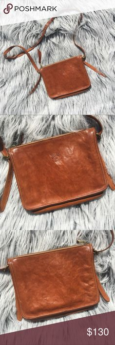 """Il Bisonte Brown Leather Textured Crossbody Bag 7""""H x 9.5""""L x 2.5""""D. Made in Italy for Filene's. 100% Authentic. Classic staple brown leather simple plain crossbody. Adjustable straps. Small pen mark pictured- have not tried to remove as it's barely noticeable and I don't want to accidentally mess up this beautiful bag. Il Bisonte Bags Crossbody Bags"""