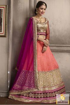 Get the stylish look peach and dark pink net lehenga choli with discount. It is graceful with nice lace border design on it. Add the touch of spark with it. #lehengacholi, #lehengastyle, #navaratrigarbacholi, #chaniyacholi, #ghaghracholi, #weddingbridalcholi, #discountoffer,   #festivalcholi, #pavitraafashion, #utsavfashion, #georgettelehengacholi, #navratrifestivallehengacholi, #netlehengacholi http://www.pavitraa.in/store/lehengha-choli/ callus:917698234040