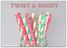 NEW!! Mint, Gold, and Hot Pink Paper Straws Mixed (Twist & Shout - Pack of 25 Straws) **Weddings, Parties, Showers, Gifts** Mint Pink Party on Etsy, $4.00