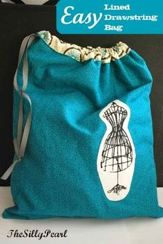 Easy Lined Drawstring Bag – Free Sewing Tutorial