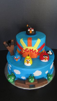 "Angry Birds Cake < Google ""Princess P's Cakery"" if you want to see a two part Angry Birds cake... with working slingshot!"