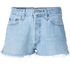 Re/Done Mid-Rise Cut Off Denim Shorts ($175) ❤ liked on Polyvore featuring shorts, clothing /, denim, kirna zabete, vintage shorts, denim cutoff shorts, denim short shorts, jean shorts and mid rise denim shorts