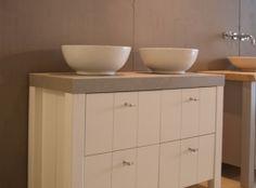 Badkamerkast Op Poten : Landelijke badkamerkast met waskommen en softclose lades een