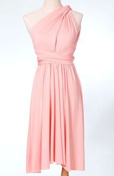 Convertible Bridesmaid Wrap dress in Pink Blush. $45.00, via Etsy.