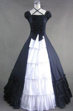 Black White Cap Sleeve Gothic Lolita Wedding Prom Dress on www.ueelly.com