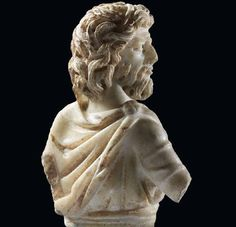 Relief of a barbarian dressed as a Roman.  White marble.  Roman, Late 2nd–3rd century  A.D.