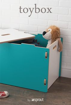 This aqua blue kids toy box is so cute! The bright color just pops, perfect for fun loving, energetic children. Dolls, cars, animals, trucks, blankets, and more can all find a home in Sprout's large wooden toy box.  The toy storage box comes in multiple colors, and matches our other Sprout kid furniture items.   Durable and kid friendly with rounded corners and edges and pinch free lids, this big toy box is made to last.  Learn more about the kids toybox at Sprout.