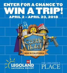 Want a chance to win a magical family vacation to the new LEGOLAND Castle Hotel and a shopping spree to The Children's Place? Enter now... Sweeps ends April 23, 2018.