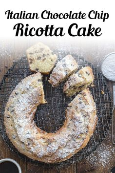 This deliciously moist Homemade Italian Cake is made with ricotta cheese and chocolate chips. The perfect Breakfast, Snack or even Dessert Cake Recipe. A Cake everyone will love. Try this easy chocolate chip ricotta cake recipe for Mother's Day! #bundtcake #dessert Delicious Cake Recipes, Cupcake Recipes, Yummy Cakes, Baking Recipes, Cupcake Cakes, Dessert Recipes, Cupcakes, Italian Cake, Italian Desserts