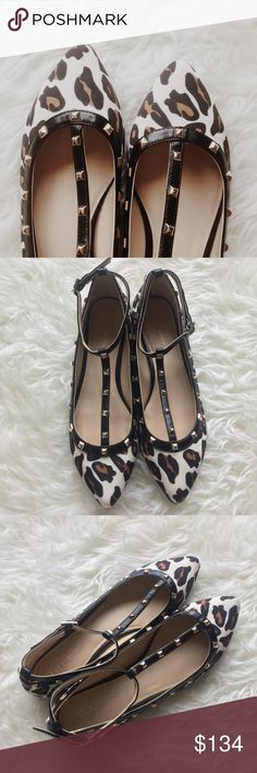 BCBG Leopard T Strap Flats Worn once! Perfect condition! Fabric upper, man made sole. BCBGeneration Shoes Flats & Loafers