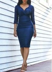 Lace Panel Three Quarter Sleeve Ruched Dress