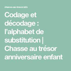 Codage et décodage : l'alphabet de substitution   Chasse au trésor anniversaire enfant