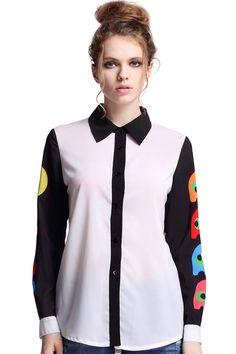 #ROMWE | Pac-chomp Print White Shirt, The Latest Street Fashion