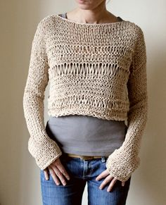 Beige Nude Cropped Sweater Coachella Festival Sweater by NastiaDi