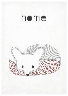 Affiche rétro fox vixen animaux de la forêt style par EmuDesigns
