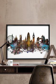 London, London print, London poster, United Kingdom, British, England, city prints, wall art, home decor, travel poster skyline iPrintPoster