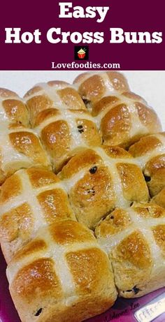 Hot Cross Buns are a lovely soft, spiced sweet roll, and traditionally made at Easter time, simply split apart and spread with butter and jam. They're lovely eaten warm from the oven or split and toas Fudge Recipes, Best Dessert Recipes, Sweet Recipes, Holiday Recipes, Christmas Recipes, Bread Recipes, Cake Recipes, Breakfast Recipes, Tolle Desserts