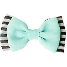 Mint Black & White Striped Hair Bow   Hot Topic