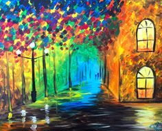 City Street Lights from Wine and Canvas • Acrylic Canvas Painting