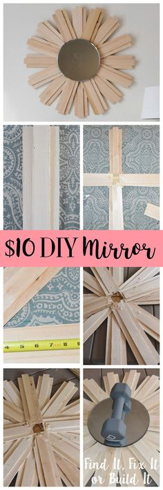 How to build an inexpensive sunburst mirror with shims. Easy beginner DIY project!