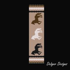 Horses 2 Beaded Peyote Bracelet Cuff Pattern by FUNPATTERNDESIGNS
