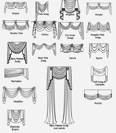 , Swags & Valances Window swags and valance styles offered by CJ. , Swags & Valances Window swags and valance styles offered by CJ Interiors Types Of Curtains, Curtains With Blinds, Valance Curtains, Curtain Types, Valences For Windows, Scarf Valance, Tall Windows, Window Swags, Window Coverings