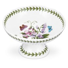 Botanic Garden Scalloped Edge Footed Bowl - NEW