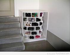 New Shoe Storage Organization Lazy Susan 18 Ideas Shoe Organizer, Closet Organization, Diy Lazy Susan, Shoe Storage, Storage Ideas, Garage Storage, Shoe Cubby, Shoe Racks, Storage Design
