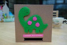 Cute felt diplodocus, dinosaur card. personalised for any occasion #dinosaur #diplodocus