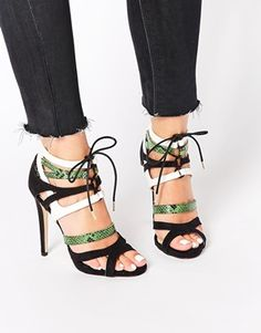 Truffle Collection Rita Strappy Heeled Sandals at ASOS. Strappy Sandals Heels, Stilettos, Shoes Heels, Strap Sandals, Black Sandals, Sock Shoes, Shoe Boots, Beautiful High Heels, Pretty Shoes