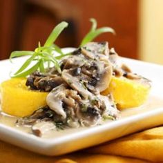 Polenta with Creamy Mushroom Sauce  This mushroom sauce has such sophisticated flavor, you won't believe how easy it is to make. We love the smooth, creamy texture and nutty, rich taste of fontina cheese when paired with full-flavored shiitakes. Make it a Meal: Toss steamed broccolini with olive oil, lemon juice and salt to serve alongside.