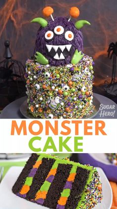 Monster Cake Video This Monster Cake is so good, it's scary! This cute Halloween layer cake has a base covered in sprinkles, and a top layer decorated to look like a mini monster. Perfect for parties and spooky occasions! Halloween Desserts, Bolo Halloween, Halloween Torte, Halloween Backen, Postres Halloween, Halloween Cookies Decorated, Halloween Cake Pops, Halloween Food For Party, Halloween Treats