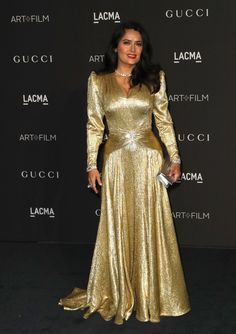 1e911f321c9 Salma Hayek Metallic Clutch - Salma Hayek kept the shine going with a  metallic silver clutch