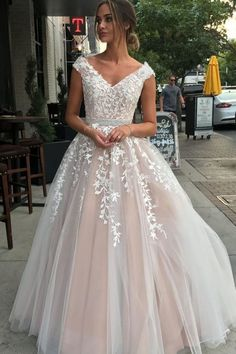Pink v neck tulle lace long prom gown, evening dress · inshop · Online Store Powered by Storenvy Prom Dresses 2018, Long Prom Gowns, Evening Dresses, Wedding Dresses, White Long Prom Dresses, Modest Formal Dresses, Beaded Prom Dress, Lace Dress, Corset Dresses