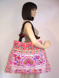 White Huge Tote Bag Thailand Pink Flowers Hill by ThaiHandbags, $34.99