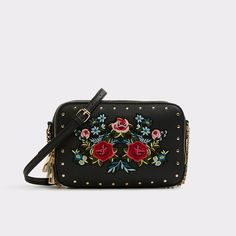 Moretta Fortune flavors the bold. Our artistic studed cross body brightens up any look with vibrant floral embriodery. Aldo Shoes, Fashion Backpack, Backpacks, Handbags, Accessories, Black, Women, Cross Body, Style