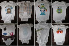 cute onsie applique ideas. Oh my goodness! I love the little tool belt one! Haha!