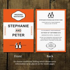 Penguin Classic Wedding Invitations And Save The Date