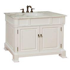 Bellaterra Home 42-in White Bellaterra Single Sink Bathroom Vanity with Top