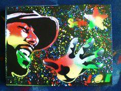 common super star,hip hop art,spraypaint art,stencil art on canvas. $50.00, via Etsy.