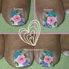 Uñitas Spring Nails, Summer Nails, Pedicure Nails, Mani Pedi, Kylie Lipstick, Bella Nails, French Pedicure, Floral Nail Art, Toe Nail Designs