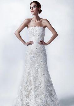 Sheath Strapless Chantilly Lace Sweep wedding Dress Style Calisa  Model:Calisa  Designer:Jane Wang