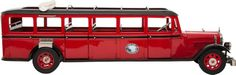 SCALE MODEL GLACIER PARK 'RED JAMMER' BUS BY RETRO 1 2 3 9 x 28-1/2 x 8 inches (22.9 x 72.4 x 20.3 cm) Well built authentic scale model of the beloved sightseeing bus made the White Motor Company in the late 1930's and still operating at Glacier National Park in Montana.