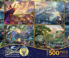 Ceaco: Thomas Kinkade - Disney Dreams Collection (The Lion King, Peter Pan, The Jungle Book, and The Princess and the Frog) Puzzle Set