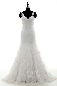 Delicate+Spaghetti+Strap+Dropped+Train+Lace+Ivory+Sleeveless+Wedding+Dress+with+Appliques+LWVT1402A