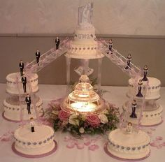 old fashioned tier and fountain and stairs wedding cakes pictures | Pin Castle Fountain Wedding Cake Beautiful Planning Dresses Cake on ...