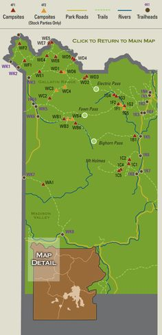 Map showing backcountry campsites in the Gallatin Range and Mammoth region of Yellowstone National Park.