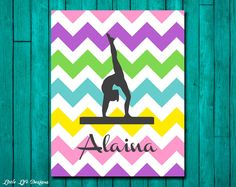 Set of 4 Personalized Gymnastics Prints by MDesignCompany on Etsy Gymnastics Quotes, Gymnastics Posters, Gymnastics Gifts, Gymnastics Stuff, Gymnastics Bedroom, Gymnastics Birthday, 8th Birthday, Wall Stickers Girl Room, Name Wall Decals